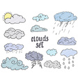 Hand drawn Doodle set of different Clouds sketch vector image