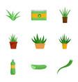 aloe vera icon set flat style vector image vector image