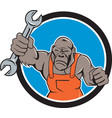angry gorilla mechanic spanner circle cartoon vector image vector image