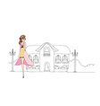 beautiful fashion girl on the street vector image vector image
