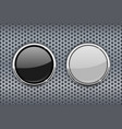black and white round glass buttons with chrome vector image