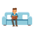 boy student sits on cauch with book and reads vector image