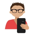 cartoon avatar man and black smartphone front view vector image