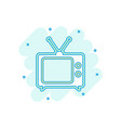 cartoon colored tv icon in comic style television vector image vector image