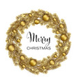 christmas wreath with gold pine branches vector image