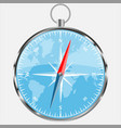 compass with blue world background realistic vect vector image vector image