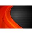 Dark striped background with orange waves vector image vector image