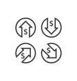 dollar increase decrease icon money symbol with vector image vector image