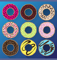 donut minimalistic flat set with sweet cream vector image vector image