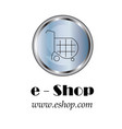 e - shop company logo - shopping cart icon vector image