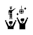 fan meeting black glyph icon party in disco club vector image vector image