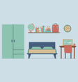 Flat Design Bedroom Interior vector image vector image