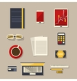 Flat design Business workplace with flat icons vector image vector image