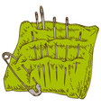 green pincushion with safety pin and needles vector image vector image
