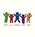 group children jumping graphic vector image