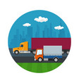 icon with truck and small covered truck vector image