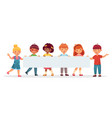 kids holding big blank banner cheerful diverse vector image