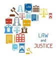 Law and justice icons background in flat design vector image vector image