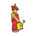little girl with a garden watering can vector image vector image