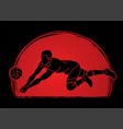 man volleyball player action cartoon graphic vector image