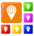 map pin pointer with cafe or restaurant sign icons vector image vector image