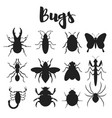 monochrome set of various bugs vector image vector image