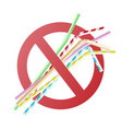 no to plastic straw concept in cross circle vector image vector image
