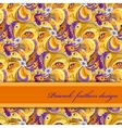 Orange peacock feathers pattern background Text vector image vector image