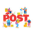 people in post office concept postmen deliver vector image vector image