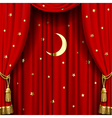 Red curtain with gold tassels vector image vector image