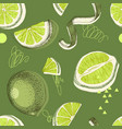 seamless pattern with hand drawn lime halfs skin vector image vector image