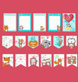 set of love cards with cute animals vector image