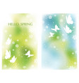 set of springtime background with butterflies vector image