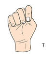 sign language and alphabetthe letter t vector image