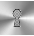 Simple keyhole in bright glossy metal plate vector image vector image