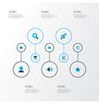 user icons colored set with cloud user sound and vector image