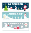 Winter Months Calendar Flashcards Set Nature vector image vector image