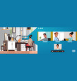 woman meeting with mix race friends during video vector image vector image