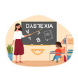 young girl suffering with dyslexia is having vector image