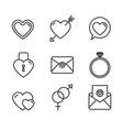 romantic love set icons vector image
