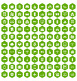 100 property icons hexagon green