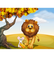 A lion and a mouse vector image vector image