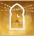 arabic window with the silhouette of the mosque vector image vector image