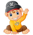 baby pirate waving hand vector image vector image
