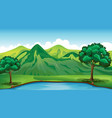 background scene with green mountain and pond vector image vector image