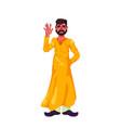 bearded hindu yellow lungi waving his hand vector image