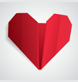 Big red origami heart vector image