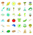 biology in nature icons set cartoon style vector image vector image