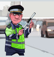 cartoon male traffic inspector points finger at a vector image