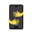 cartoon mobile phone with hugging hands flat vector image vector image